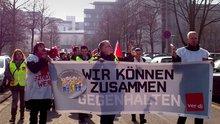 Streik und Protest in Bonn, Sitz der Postbank Zentrale und Zentrale PB Filialvertrieb am 16. März.