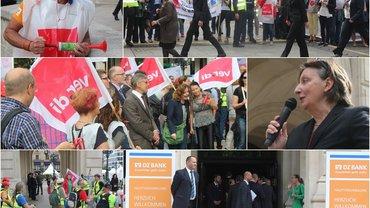 Am 22.06.2016 sind in Frankfurt am Main 500 Kolleginnen und Kollegen der DZ BANK AG auf der Strasse um für einen Haustarifvertrag zu demonstrieren.