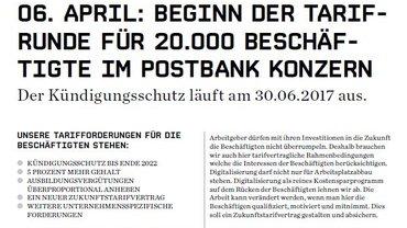 06. APRIL: BEGINN DER TARIFRUNDE FÜR 20.000 BESCHÄFTIGTE IM POSTBANK KONZERN
