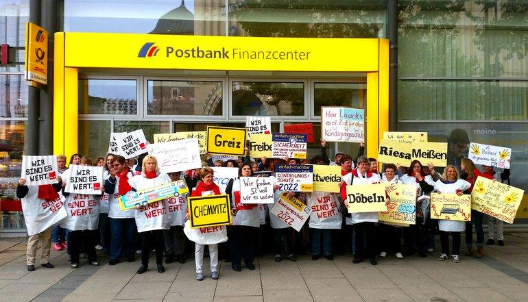 Streikende in Chemnitz