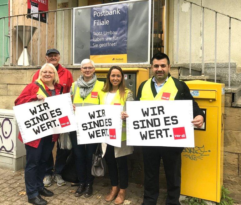 Streik bei der Posstbank in Sinsheim