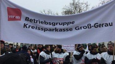 Sparkassenbeschäftigte in Hessen im Warnstreik (22.03.2018)