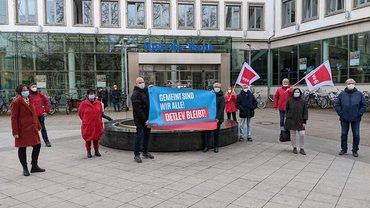 Gemeinsam stark: ver.di-Aktive bei der Sparda-Bank zeigen sich solidarisch mit dem gekündigten Betriebsrat. (03/2021)